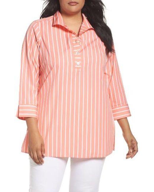 Foxcroft | Pink Dani Button Back Tunic Shirt | Lyst