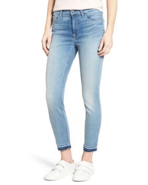 Jen7   Blue Release Hem Stretch Ankle Skinny Jeans   Lyst
