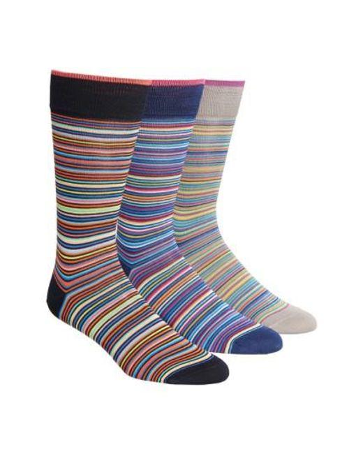 Bugatchi   Blue 3-pack Cotton Blend Socks, Black for Men   Lyst