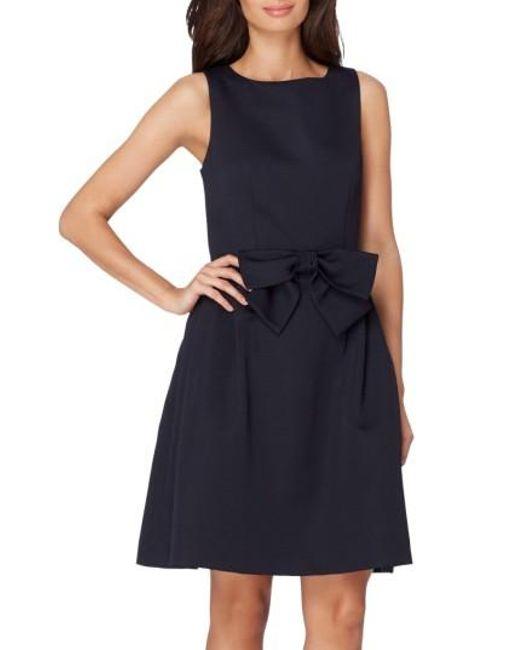 Tahari | Blue Bow Fit & Flare Dress | Lyst