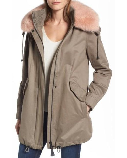 10 Crosby Derek Lam | Natural Parka With Genuine Fox Fur Trim | Lyst