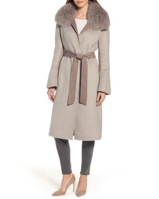 Elie Tahari | Natural Annabelle Genuine Fox Fur Trim Double Face Long Wrap Coat | Lyst