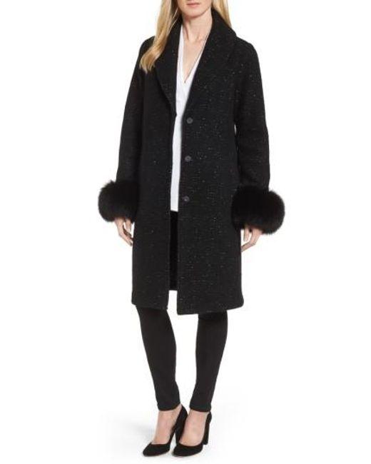Elie Tahari   Black Grace Genuine Fox Fur Trim Knit Wool Blend Long Coat   Lyst