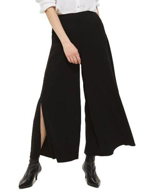 TOPSHOP | Black Mia Split Palazzo Trousers | Lyst