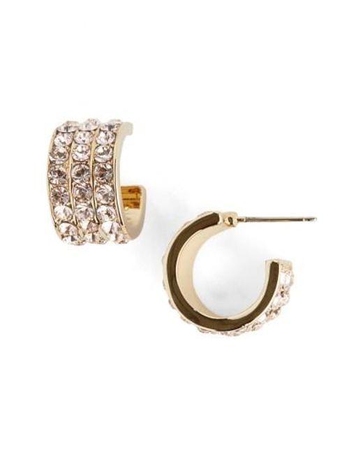 St. John | Metallic Swarovski Crystal Hoop Earrings | Lyst
