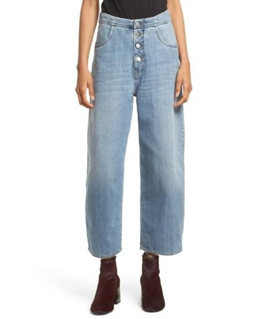 MM6 by Maison Martin Margiela | Blue Relaxed Fit Crop Jeans | Lyst