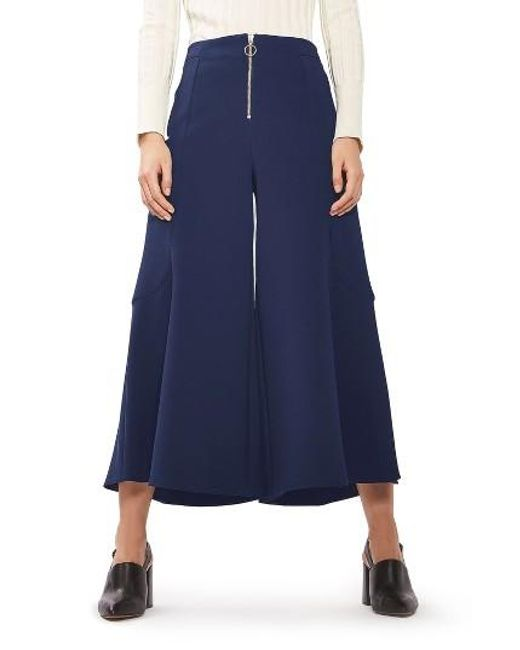TOPSHOP | Blue Meg Zip Frill Palazzo Trousers | Lyst