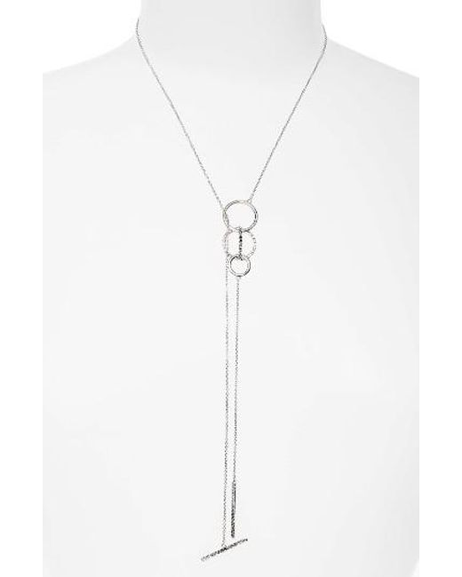 Judith Jack | Metallic Silver Sparkle Lariat Necklace | Lyst
