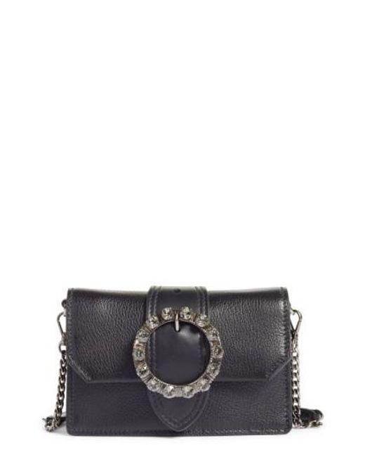 Miu Miu | Black Lady Madras Crystal Embellished Leather Crossbody Bag | Lyst