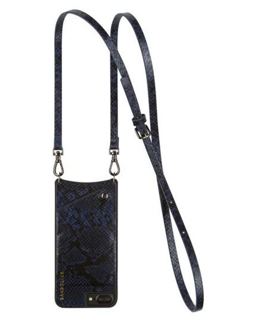 Bandolier | Blue Cynthia Snake Embossed Faux Leather Iphone Crossbody Case | Lyst