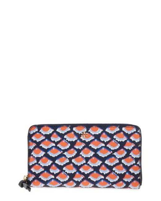 Tory Burch | Blue Kerrington Coated Canvas Zip Around Wallet | Lyst