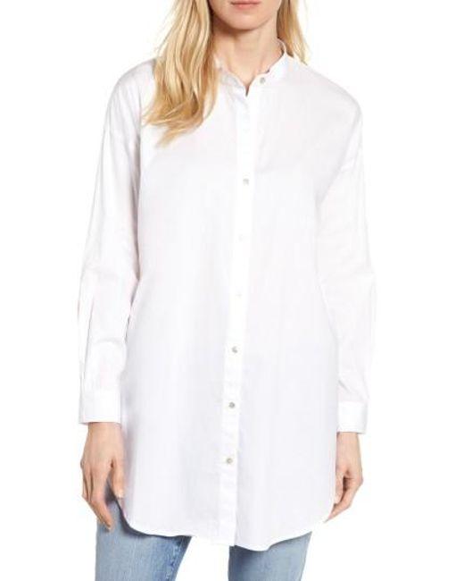 Eileen Fisher   White Stretch Organic Cotton Mandarin Collar Tunic   Lyst