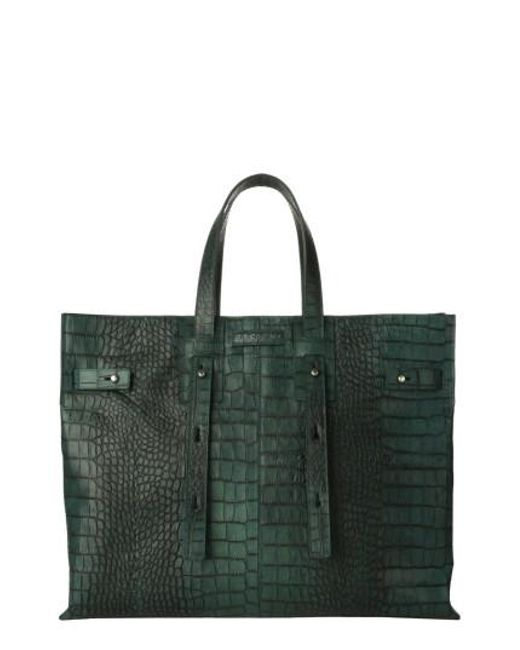 Orciani   Green Petra Croc-embossed Calfskin Leather Tote   Lyst