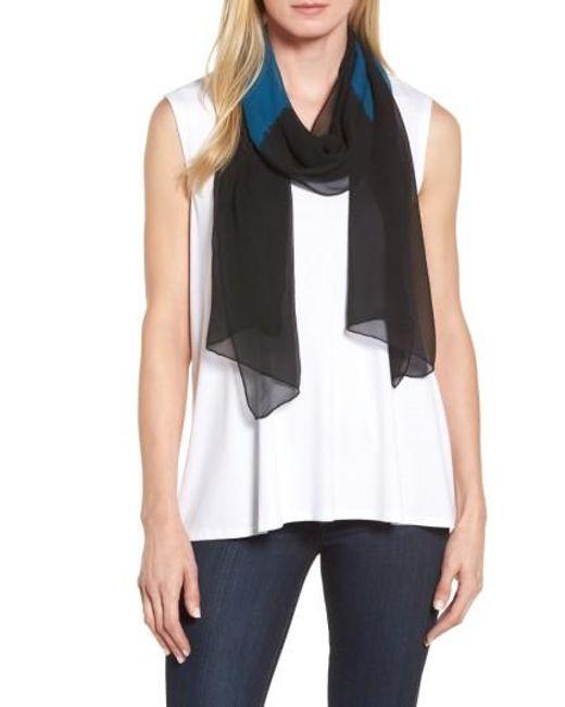 Eileen Fisher   Black Colorblock Silk Scarf   Lyst