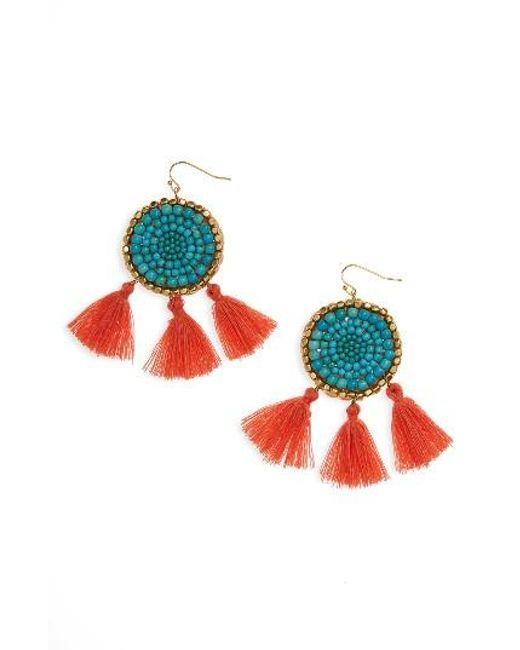 Panacea | Blue Howlite Medallion Tassel Earrings | Lyst