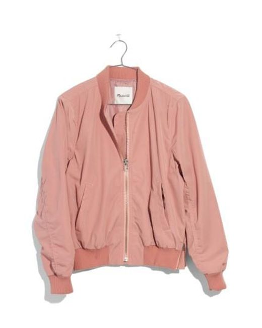 Madewell | Pink Side Zip Bomber Jacket | Lyst