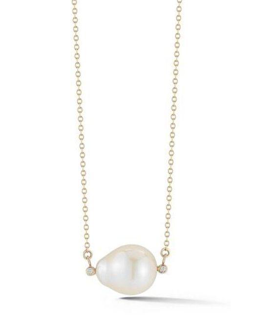 Mizuki - Metallic Pearl Pendant Necklace - Lyst