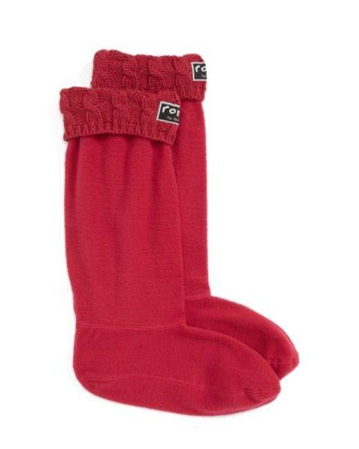 Roma   Red Knit Collar Fleece Boot Socks   Lyst