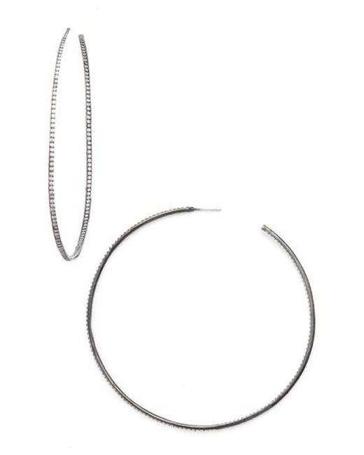CZ by Kenneth Jay Lane   Metallic Skinny Inside Out Hoop Earrings   Lyst