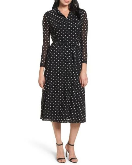 Anne Klein | Black New York Polka Dot Shirt Dress | Lyst