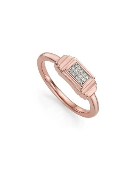 Monica Vinader | Metallic Baja Deco Diamond Ring | Lyst