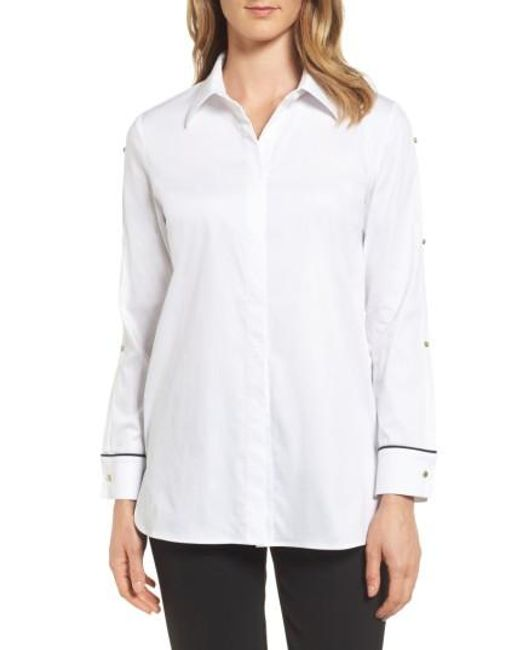 Ming Wang | White Split Sleeve Shirt | Lyst