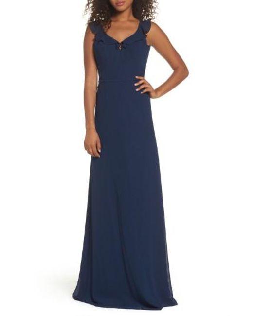Monique Lhuillier Bridesmaids | Blue Keira Backless Chiffon Gown | Lyst
