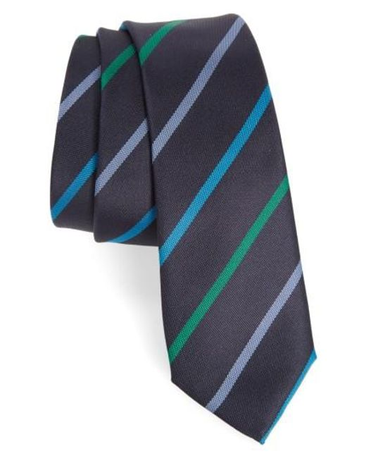 Paul Smith   Blue Stripe Silk Skinny Tie for Men   Lyst