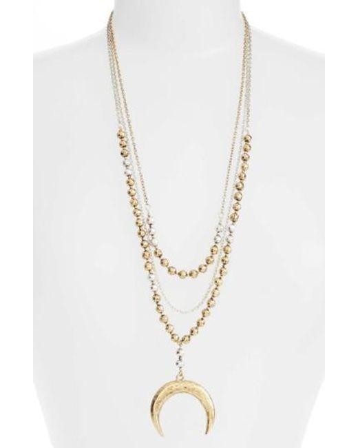 Karine Sultan | Metallic Multistrand Pandant Necklace | Lyst