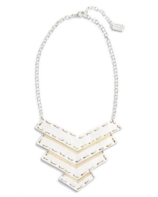 Karine Sultan   Metallic Chevron Pendant Necklace   Lyst