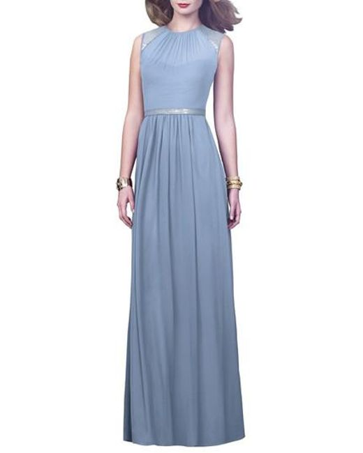 Dessy Collection   Blue Embellished Open Back Gown   Lyst