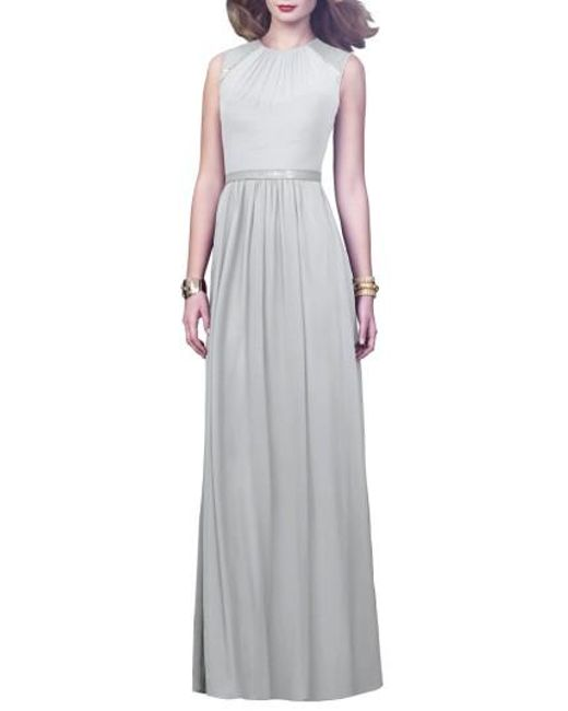 Dessy Collection | Gray Embellished Open Back Gown | Lyst