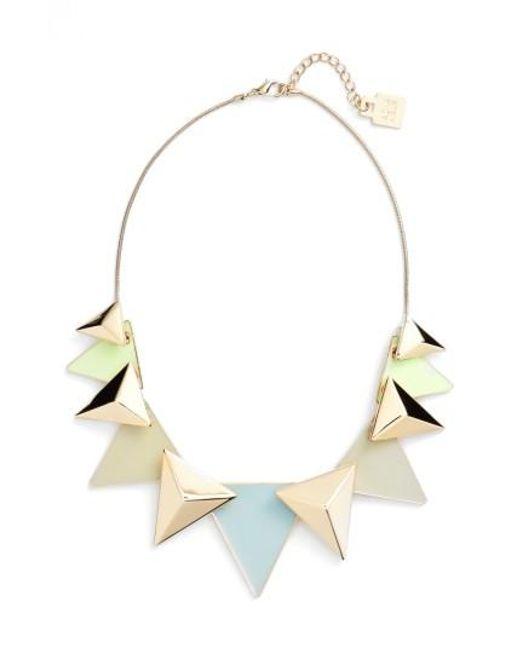 Adia Kibur   Metallic Layered Triangle Statement Necklace   Lyst