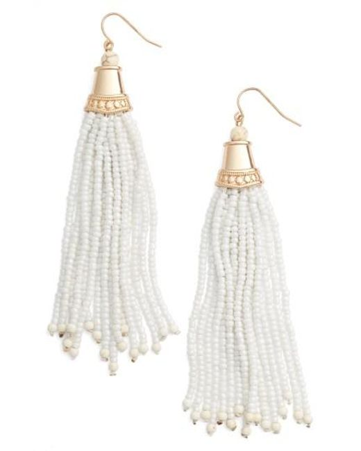 Adia Kibur | White Beaded Tassel Earrings | Lyst