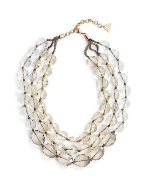 Serefina   Metallic Triple Strand Crystal Statement Necklace   Lyst