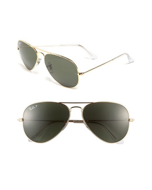 Ray-Ban | Metallic Original Aviator 58mm Polarized Aviator Sunglasses | Lyst