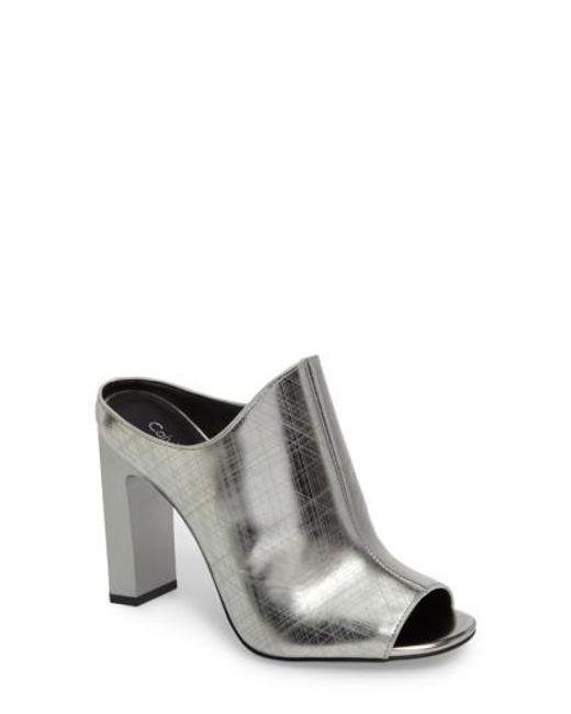 Calvin Klein   Metallic Maera Open Toe Mule   Lyst