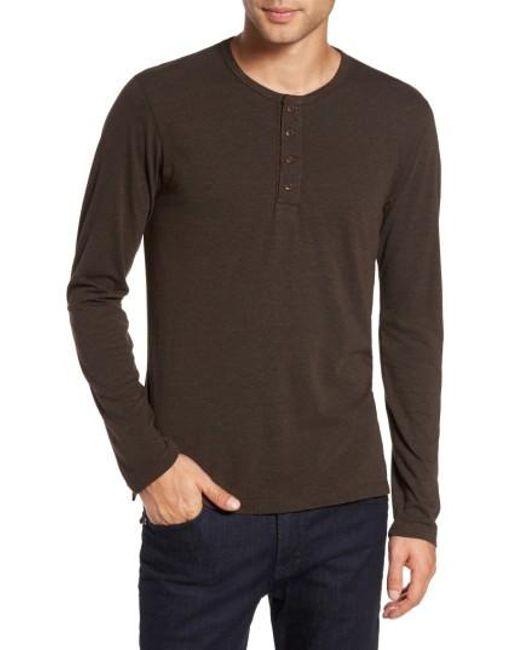 Goodlife | Brown Long Sleeve Henley for Men | Lyst