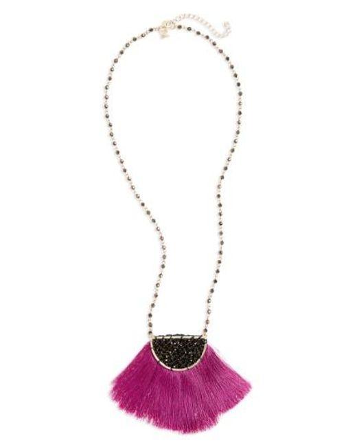 Panacea | Metallic Fringe Pendant Necklace | Lyst