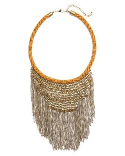 Panacea | Metallic Antique Fringe Bib Necklace | Lyst