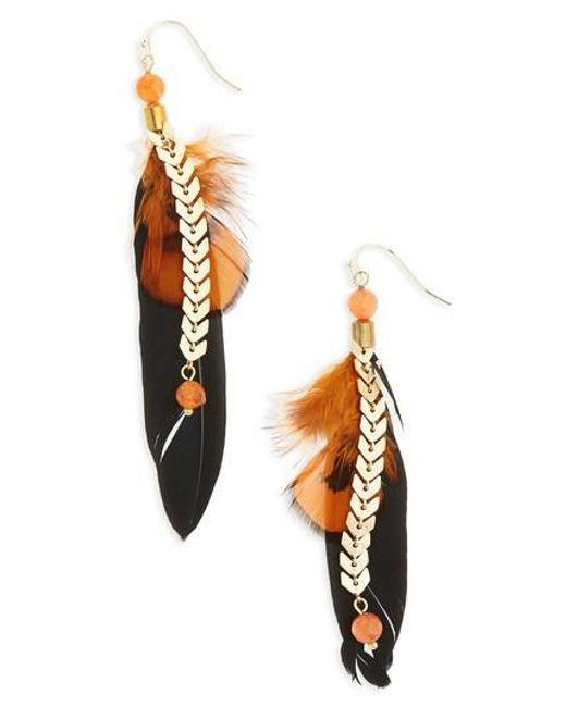 Panacea   Metallic Feather Chain Earrings   Lyst