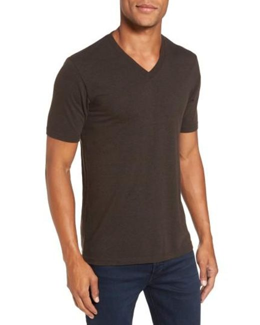 Goodlife | Brown V-neck Heathered T-shirt for Men | Lyst