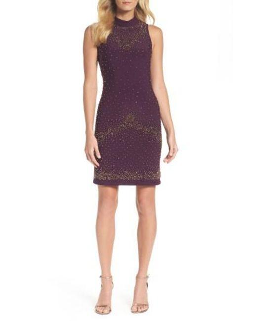 Chetta B   Purple Beaded Sheath Dress   Lyst