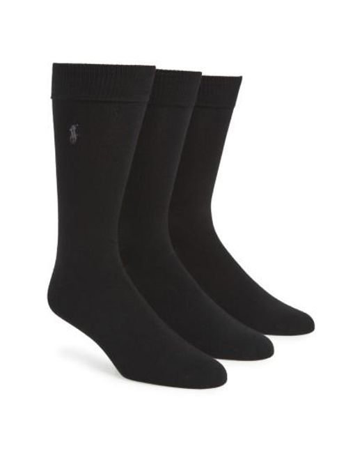 Polo Ralph Lauren | Natural Assorted 3-pack Supersoft Socks, Black for Men | Lyst