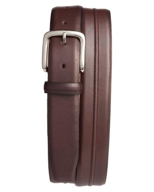 Cole Haan | Brown Pinched Seam Leather Belt for Men | Lyst