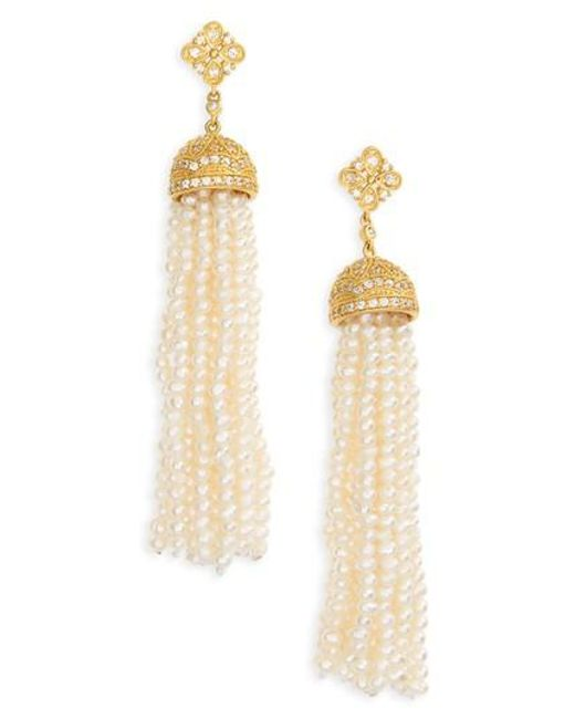 Freida Rothman | Metallic Audrey Waterfall Tassel Pearl Earrings | Lyst