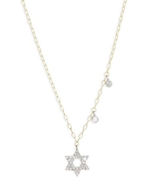 Meira T | Metallic Diamond Star Of David Pendant Necklace | Lyst