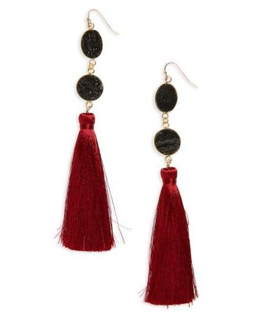 Panacea | Red Drusy Quartz Tassel Earrings | Lyst