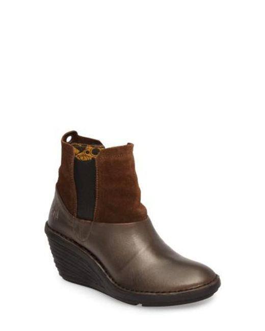 Fly London | Brown Sula Wedge Bootie | Lyst