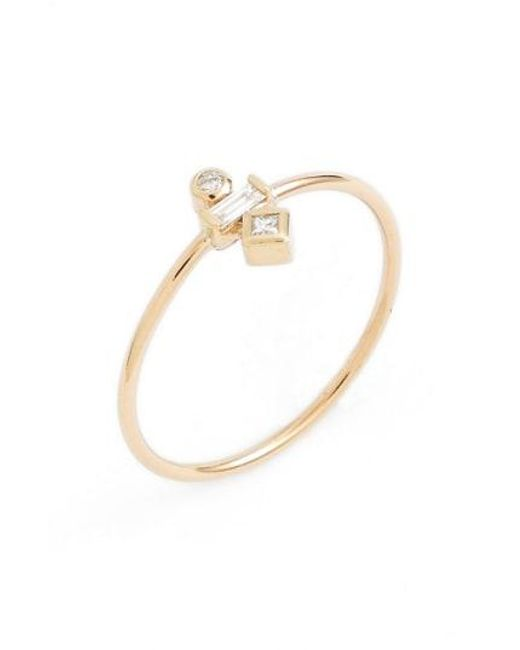 Zoe Chicco - Metallic Mixed Diamond Stack Ring - Lyst